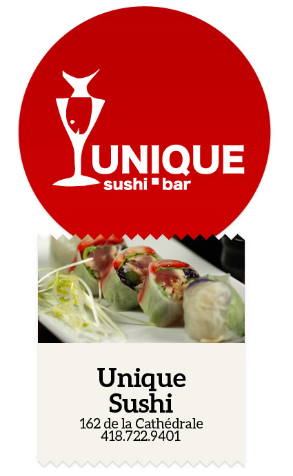 Restaurant, Rimouski, Unique, Sushi, Menu